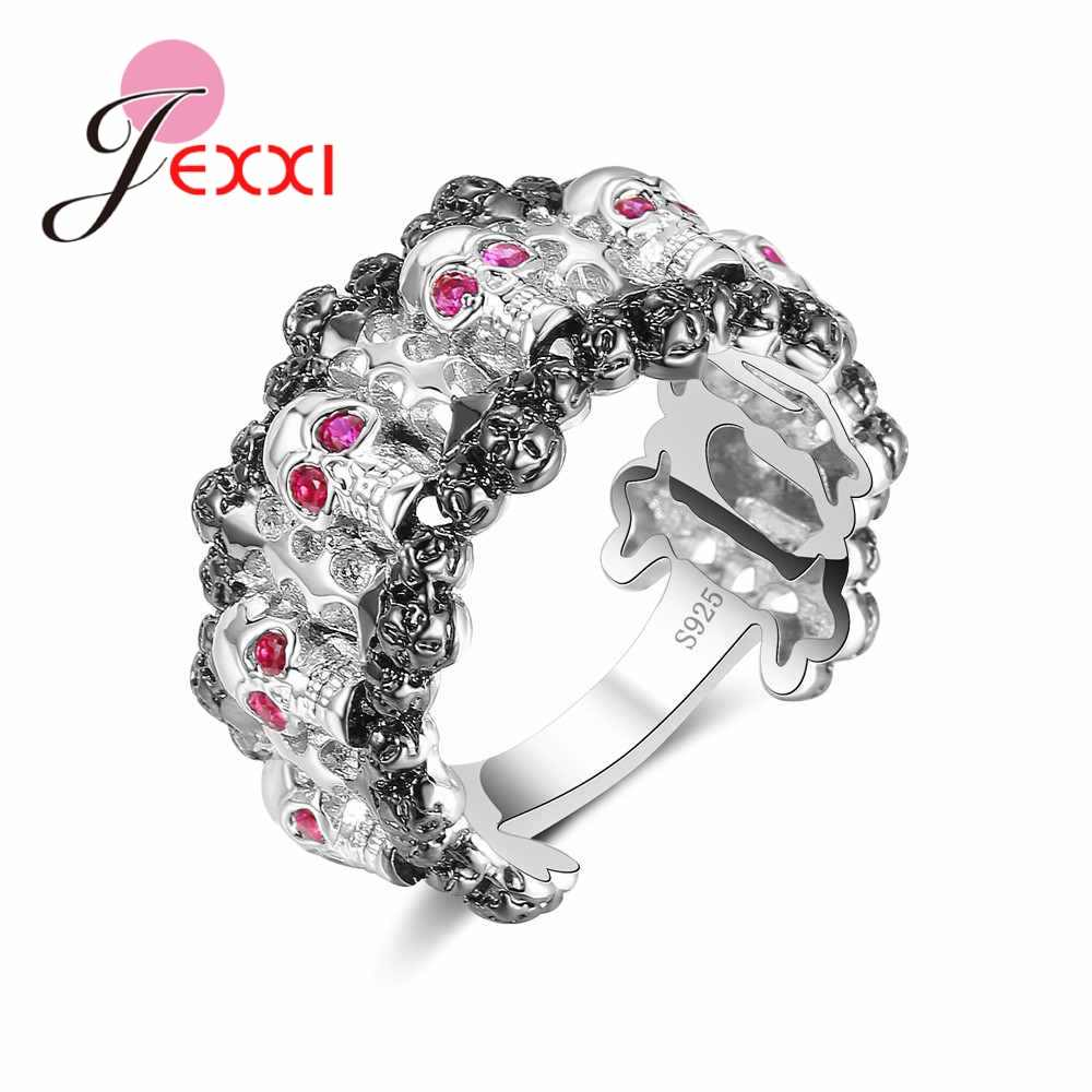 New Arrival Skeleton Rings with Fuchsia Eyes for Women Best Christmas Gift 925 Sterling Silver  Jewelry High Quality