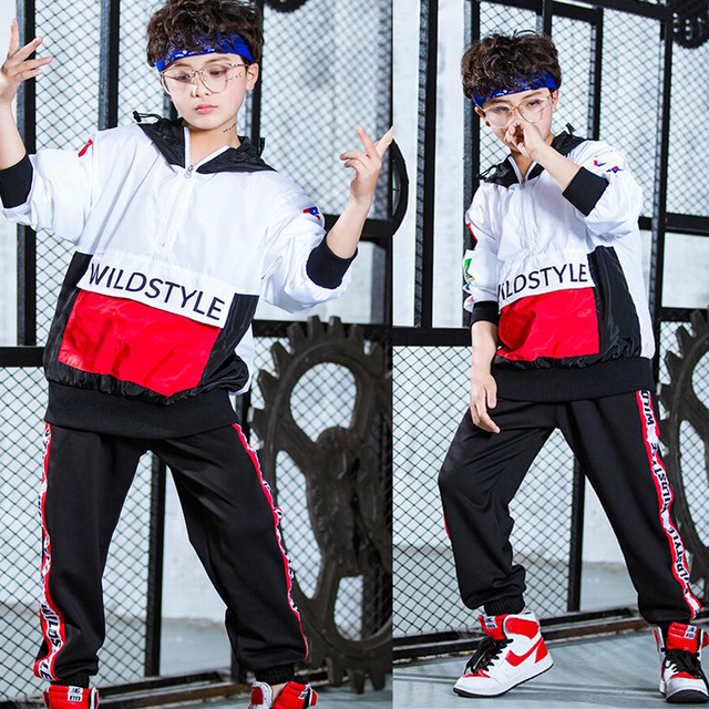 1 комплект для мальчиков свободные Бальные Джаз Хип-хоп танец конкурс костюм рубашка с капюшоном топы, штаны взрослый ребенок Танцы Костюмы наряды