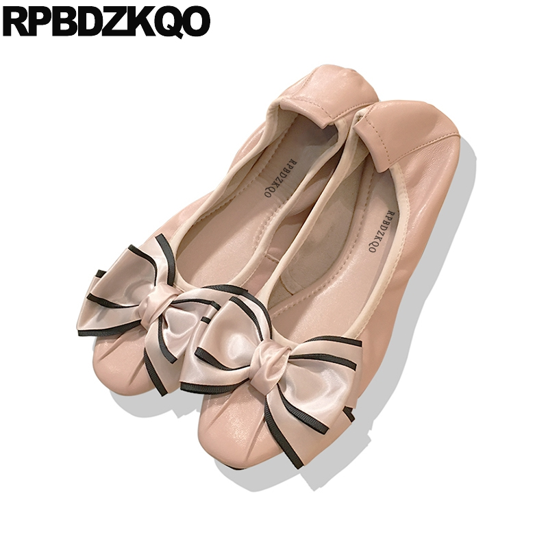 Shoes Big Bow Chinese Navy Blue Genuine Leather Large Size Women Ballerina China Kawaii Pink Foldable Ballet Flats Square Toe blue sequin large size gold pointy ballerina sparkling women chinese wedding shoes flats bow party ballet 10 glitter loafers