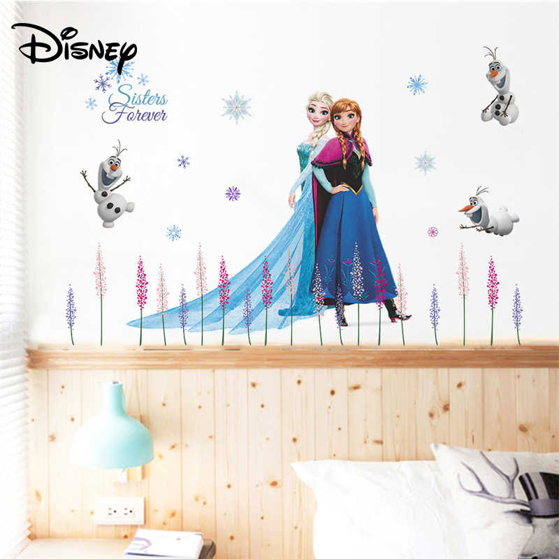 ديزني فروزن الرومانسية خلفية غرفة المعيشة أريكة غرفة نوم الديكور الأطفال الأميرة غرفة ملصق