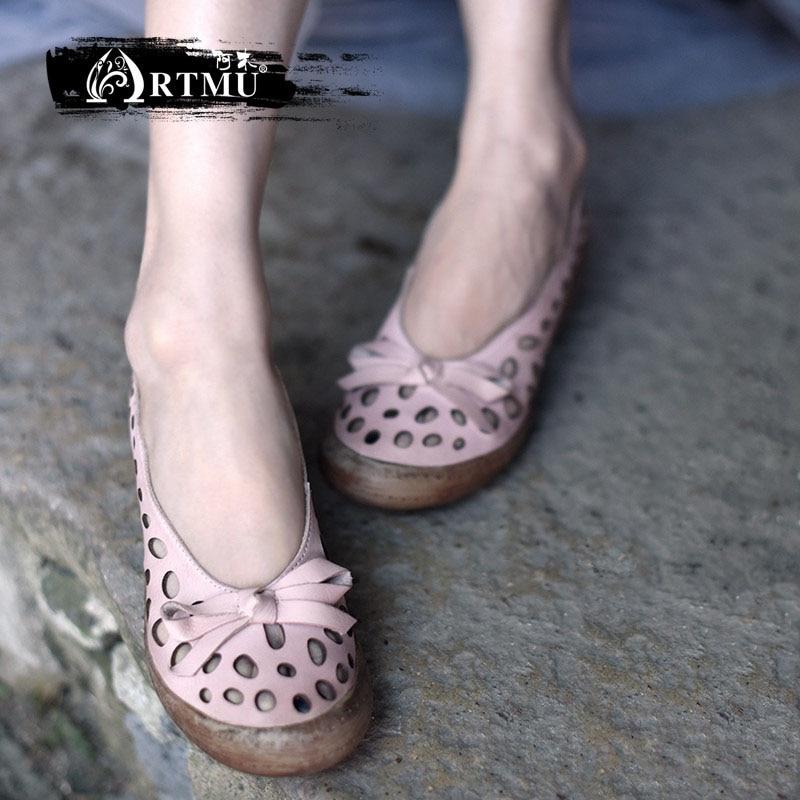 все цены на Artmu Original Retro Wedges Heels Hollow Women Sandals Butterfly-knot Genuine Leather Handmade Shoes New Style 2018-32