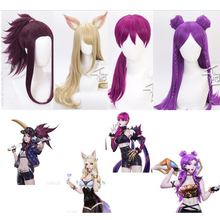 Game LOL Character KDA K/DA Ahri Akali Kaisa Evelynn Cosplay Wigs Costume set Anime hair luminous Masks HQ QITH WIG CAP