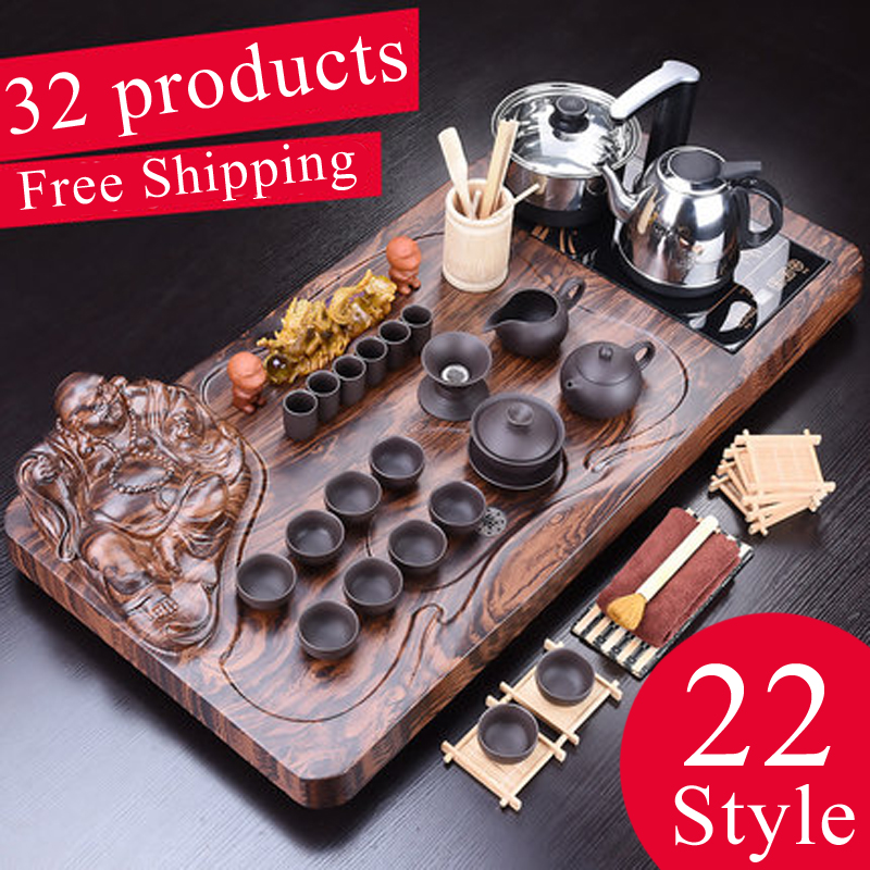 1set 32ps Solid Wood Tea Tray Drainage Water Storage Chinese Kung Fu Tea Set Drawer Tea