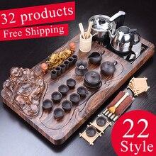 1 conjunto 32ps de madeira maciça bandeja chá drenagem de armazenamento de água chinês kung fu chá conjunto gaveta sala chá placa mesa cerimônia ferramentas chá conjunto