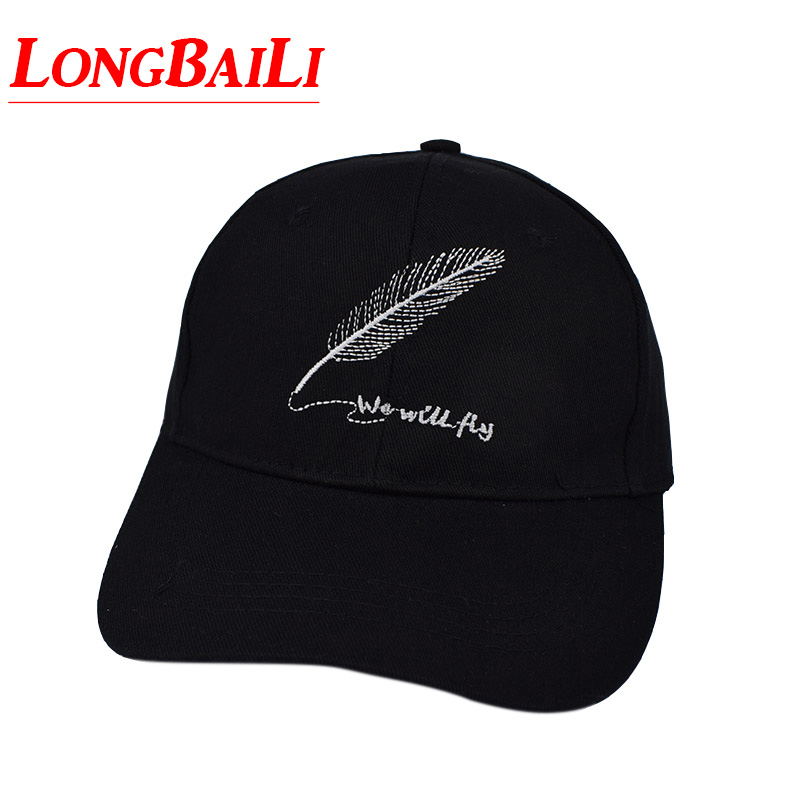 We Will Fly Feather Casual Solid White Unisex Men Baseball Hats Snapback Sport Caps Women Free Shipping BSDB028