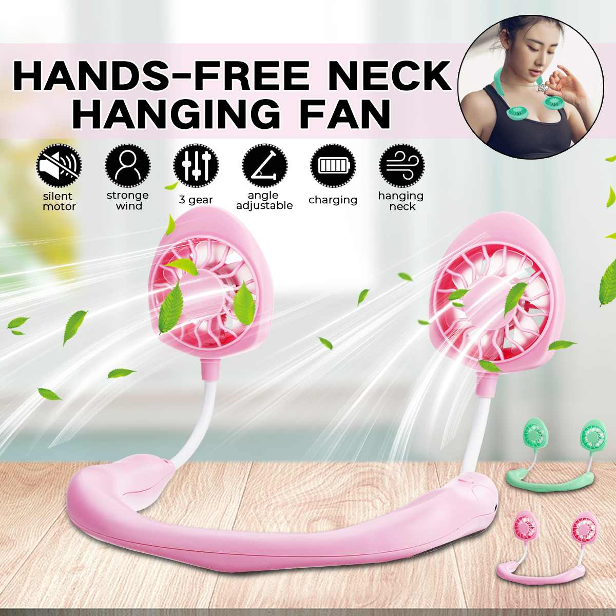 Portable Fans Hand Free Neckband Fans USB Rechargeable 1200mA Battery Operated Dual Wind Head 3 Speed Adjustable Fan