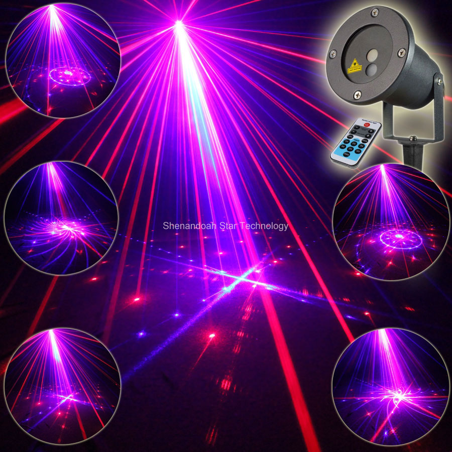 Remote Outdoor Waterproof R&B Blue Laser 24 Patterns Projector Indoor House Xmas Tree Wall Lighting Landscape Garden Light T100