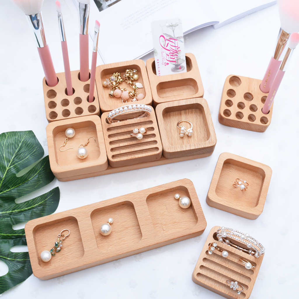 Unfinished Wooden Necklace Earrings Ring Jewelry Storage Display Holder Crafts SingleDouble Row