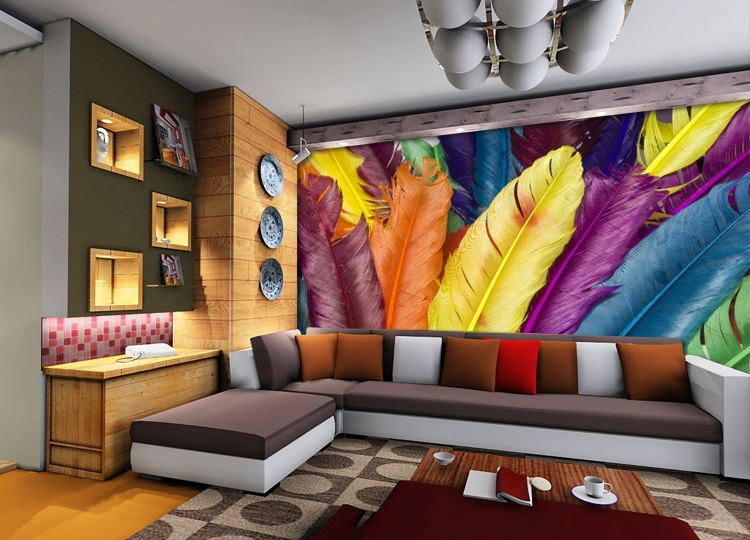 Colorful Feather Wall Mural 3D Photo Wallpaper Custom Fashion Wallpaper  Designer Kid Room Decor Bedroom Clothing Shop Decoration In Wallpapers From  Home ...