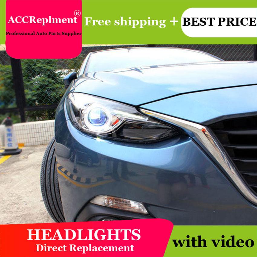 AUTO.PRO For Mazda 3 Axela xenon headlights 2014 2016 car styling bi xenon lens low beam led DRL for mazda3 head lamps parking