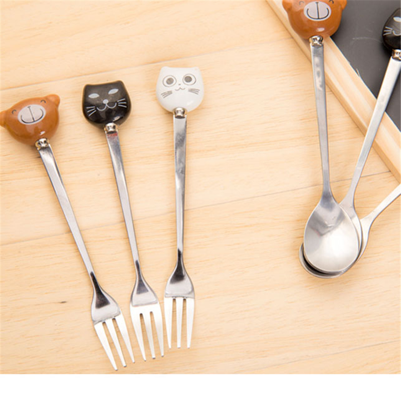 1PC Coffee Spoon Stainless Steel Fruit Fork Ceramic Handle Cute Cat Cartoon Forks Spoons Tableware CA ...