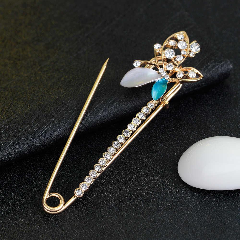 2017 Мода Для женщин Брошь Стразы знак большой Хиджаб Пен Брошь бабочка броши для Для женщин уникальные Популярные Банкетный ювелирные изделия