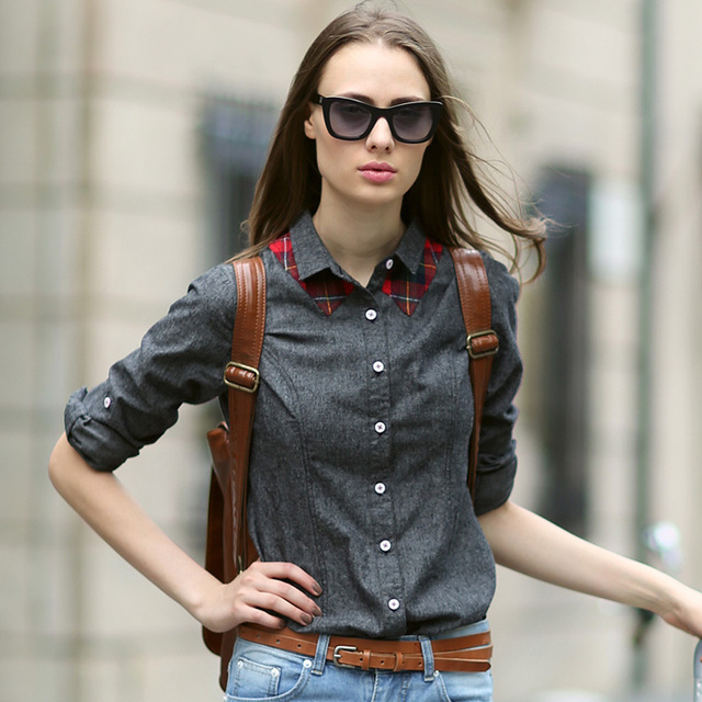 9749e867 Veri Gude Women's Blouses British Style Patchwork Solid Color Oxford Shirt  Women Long Sleeve Turn-Down Slim Fit Shirt