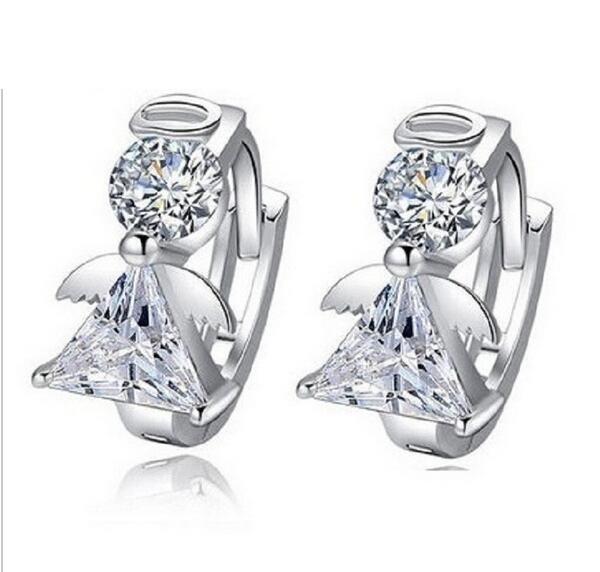 4 Colors Angel Fairies Silver Color Earings