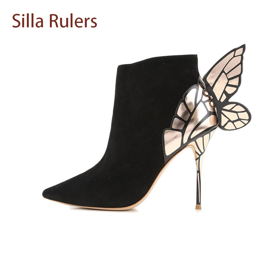 Silla Rulers Spring Autumn Pointed Toe Sexy Stiletto Heel Women Ankle Boots Butterfly Wings Suede Short Boots Metal Decor Pumps elegant women s round toe pumps with stiletto and suede design