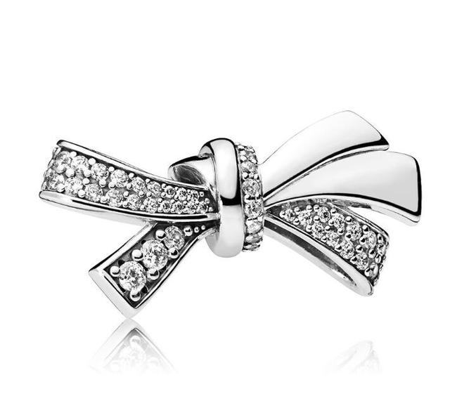Authentic 925 Sterling Silver Bead Brilliant Bow Charm, Clear CZ Fit Original Wo