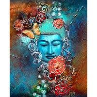 CAMMITEVER DIY Diamond Embroidery Religious Buddha Flame Portrait Diamond Painting Cross Stitch Drill Mosaic Decoration