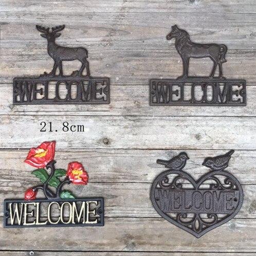 Une paire de Lovebirds bienvenue signe Greeter pieu de jardin en fonte par cadeaux & décor - 4