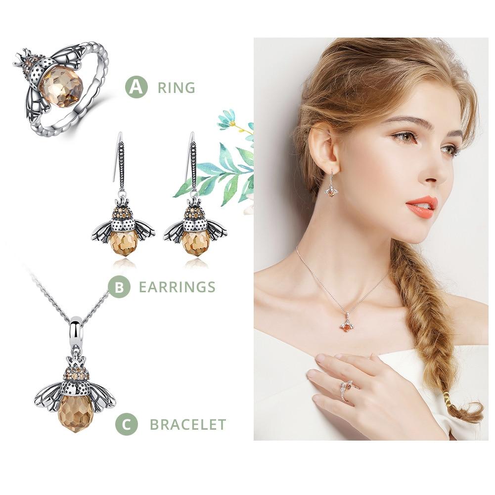 BAMOER 925 Sterling Silver Lovely Orange Bee Animal Pendants Necklace for Women Fine Jewelry CC035