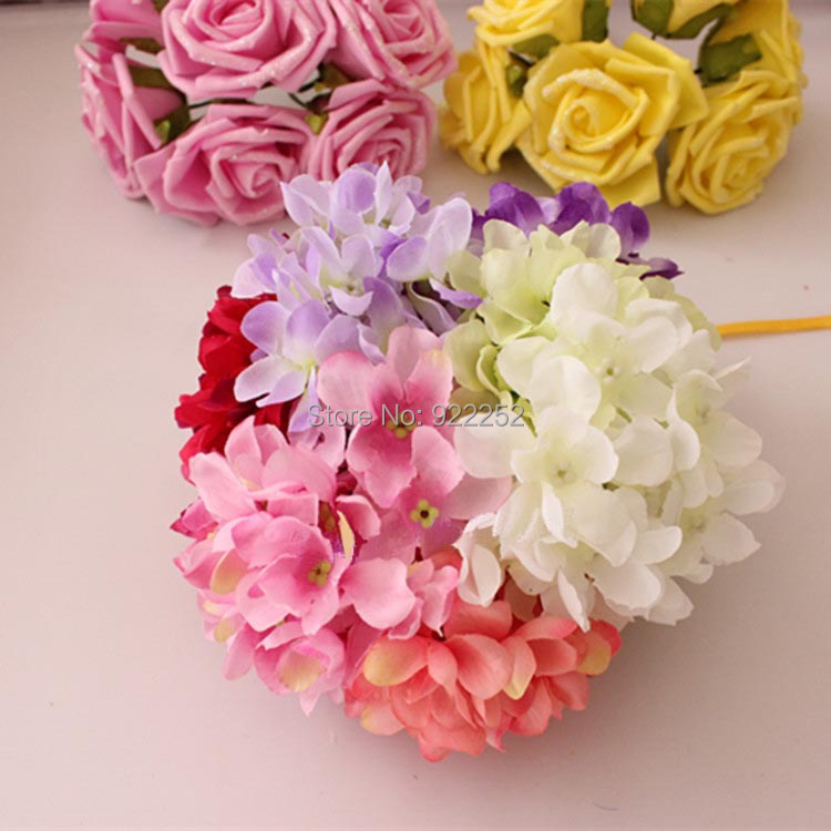 10cm Mixcolor Artificial Silk Hydrangea Small Fabric Kissing Head