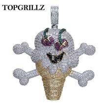 TOPGRILLZ Colgante de esqueleto y calavera para hombre, collar ostentoso de circón cúbico, estilo Hip Hop, Color dorado y plateado, joyería de cadena