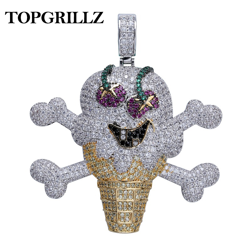TOPGRILLZ Corsair Skull Skeleton Pendant Necklace Iced Out Bling Cubic Zircon Hip Hop Gold Silver Color Men Charms Chain JewelryTOPGRILLZ Corsair Skull Skeleton Pendant Necklace Iced Out Bling Cubic Zircon Hip Hop Gold Silver Color Men Charms Chain Jewelry