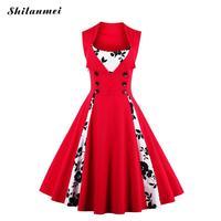 Sexy Plus Size Vintage Dress 4XL 5XL Women 50s 60s Red Summer Dress Patchwork Sleeveless Evening