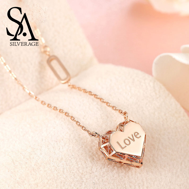 SA SILVERAGE Heart Love Pendant Necklaces 18K Rose Gold Woman Pendant 2019 Chain Letter Love Necklaces Real Rose Gold JewelrySA SILVERAGE Heart Love Pendant Necklaces 18K Rose Gold Woman Pendant 2019 Chain Letter Love Necklaces Real Rose Gold Jewelry