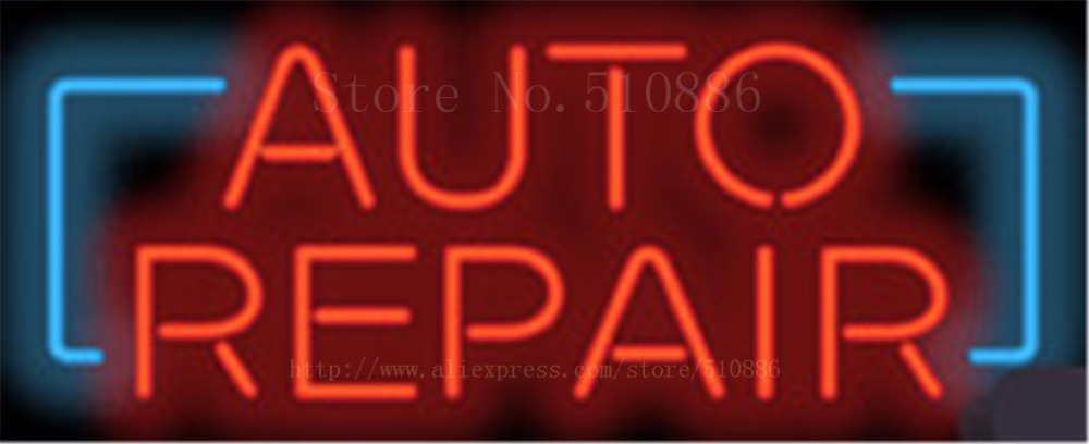 """Auto Repair Real <font><b>Glass</b></font> Tube Car Garage neon sign Custom Light Handcrafted Decorative signs Shop Store Business Signboard 17\""""x14\"""""""