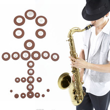 25Pcs/Set Alto Saxophone SAX Replacement Woodwind Brown Fuax Leather Pads NEW