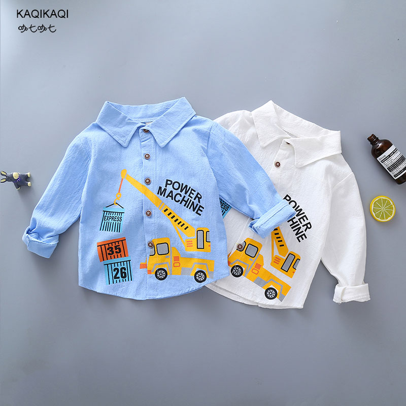 2018New Cute Crane Toddler Infan Baby Boys Long Sleeved Shirt Lapel Party Tops Children Casual Spring Autumn Wear 98%Cotton 1