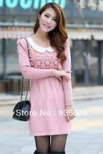 Платье, весна вышивка бисером круг воротник чистый цвет элегантный вязание свитер