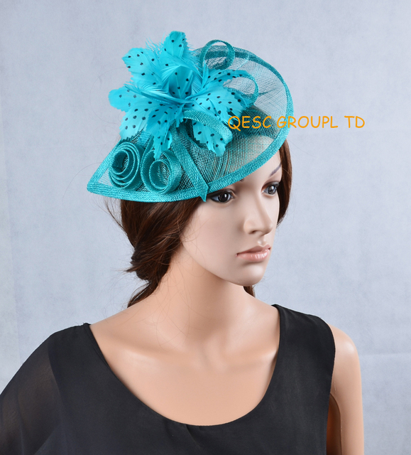 6f326065aebb7 NEW Turquoise blue unique design sinamay fascinator with feather flower for  Melbourne Cup