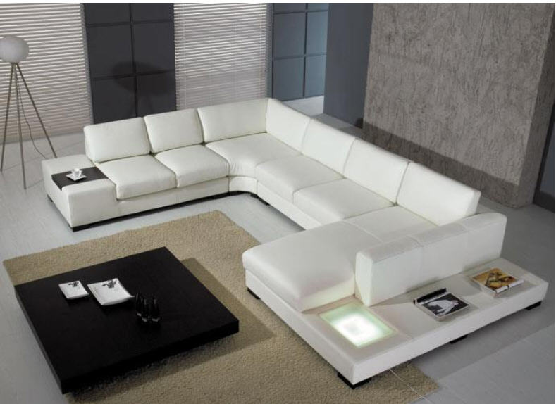 Living Room Sofa Set Corner U Shaped Couch Real Genuine Leather Sectional Sofas Muebles De
