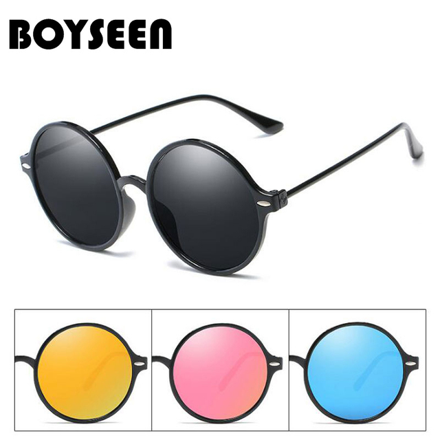 7213734ce618 BOYSEEN Hot Sale Fashion Round Sunglasses Women Classic Brand Designer  Female Twin-Beams Coating Mirror Flat Panel Lens 915