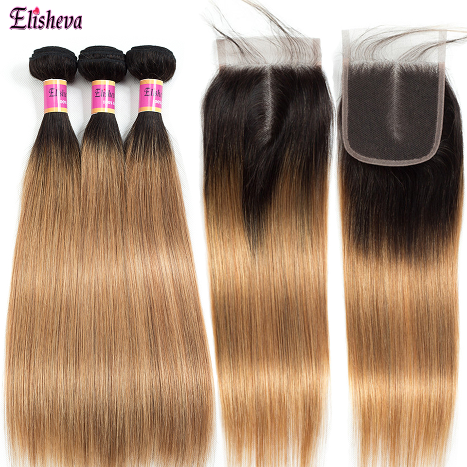 Elisheva Ombre Straight Hair Bundles with Closure 4x4 Coloured 1B 27 Honey Blonde 3 weave Bundles