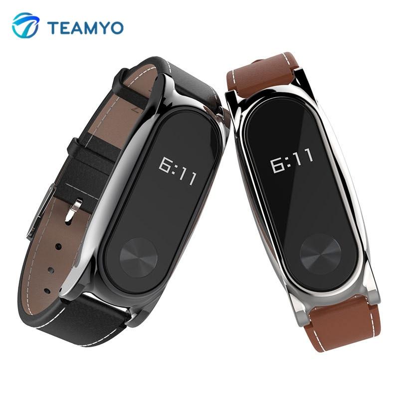 Mijobs Leather Strap For Xiaomi Mi Band 2 Wrist Straps Screwless Bracelet mi band 2 strap Replace Accessories For xiomi miband 2