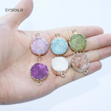 1 Pcs Unique Round Natural Druse 6 Colors Crystal Stone Pendant Glod plated Irregular Geode DIY Fit Necklace For Jewelry Making