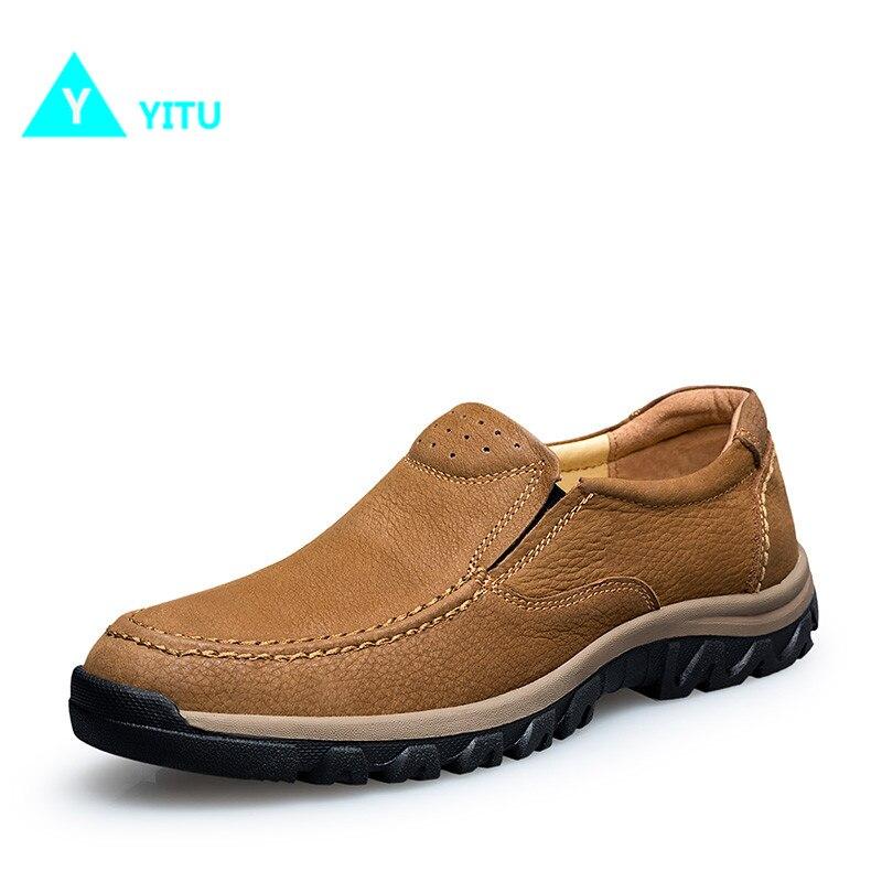 YITU/Новинка 2017 г., Мужская прогулочная обувь из натуральной кожи, дышащие удобные мягкие кроссовки, Нескользящие, износостойкие, бесплатная д...