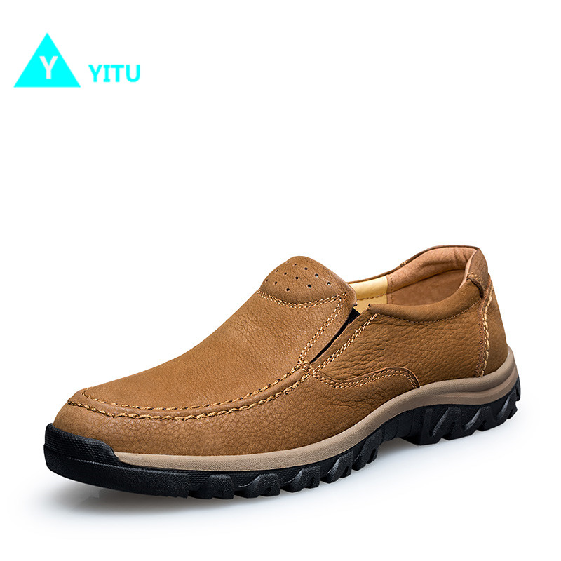 YITU 2017 Newest Genuine Leather Walking Shoes For Men Breathable Comfortable Soft Sneakers Antiskid Wear resistant Freeshipping