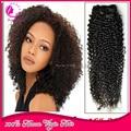 Pelo virginal brasileño rizado rizado Clip en extensiones de cabello humano Natural negro 100% del pelo humano Real Clip en el pelo Extensiosn