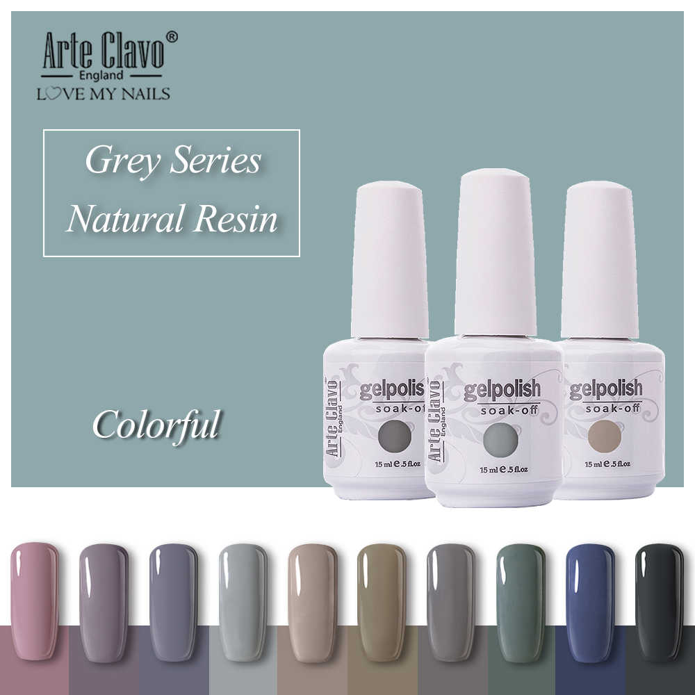 Arte Clavo Rendam Off UV Gel Nail Polish 15 ml Warna Abu-abu Gelap Nail Art Gel Polish Lacquer Pernis Kuku Gel Lak Beruntung Kuku Gel