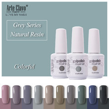 Arte Clavo Losweken UV Nail Gel Polish 15 ml Grey Dark Kleur Nail Art Gel Polish Vernis Lak Nail Gel Lak Lucky Gelnagels(China)