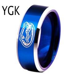 Бесплатная доставка таможни гравировка кольцо Лидер продаж 8 мм синие с блестящей края Gators Дизайн Мужская Мода Вольфрам обручальное кольцо