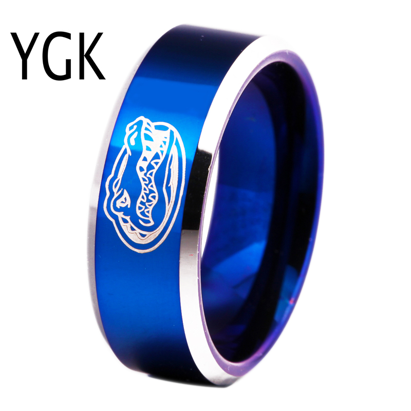 Freies Verschiffen Gewohnheiten Gravur Ring Heiße Verkäufe 8mm Blau Mit Glänzenden Kanten Gators Design männer Mode Wolfram Hochzeit ring