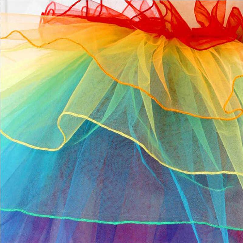 B & N unicornio cola Arco Iris falda disfraz mujer señora tutú adulto enagua tul cinta fiesta Pettiskirt personalizado 7 capas 60 cm