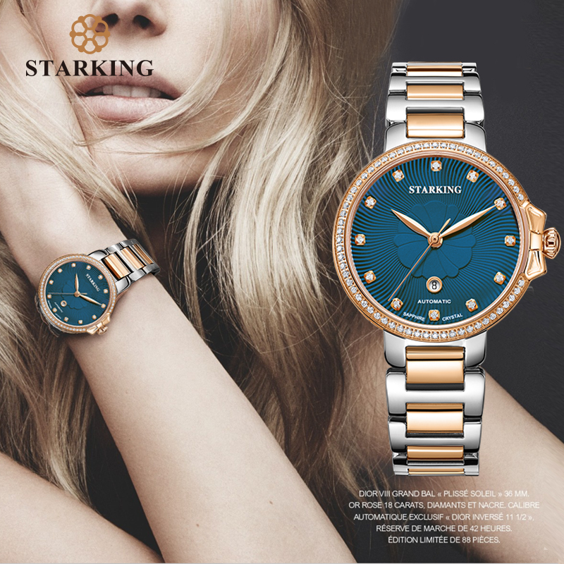 STARKING Luxury Jewelry Women Watches Sapphire Waterproof 5ATM Japan Miyota Movt Automatic Mechanical Wristwatches AL0267