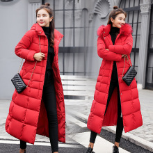 Women's jacket winter long ladies cotton coat over the knee long color fur collar large size down cotton pad Slim commuter coat hcbless womens parka cotton coat long section over the knee thick warm slim slim down cotton women s large size winter coat