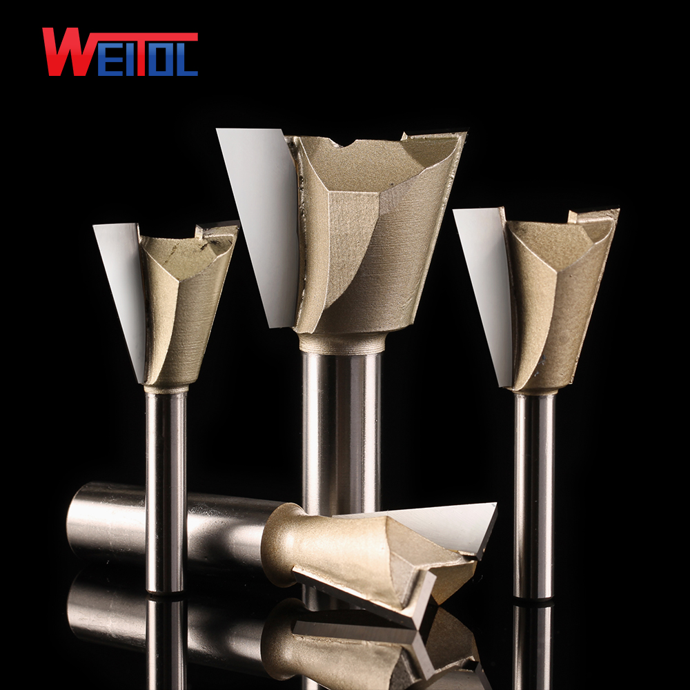 Weitol 1pcs 1/2 Or 1/4 Inch Dovetail Bit Wood Cutter CNC Milling Cutter Woodworking Router Bit Carving Tool