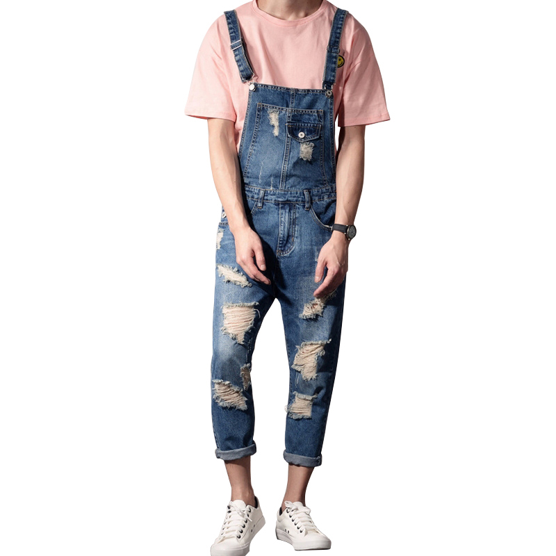 Denim Bib Overalls Ripped Hole Cropped pants Work Clothing Denim Jumpsuits Uniforms Unisex Sleeveless overalls Casual Coveralls лонгслив blukids blukids bl025ebayqd9
